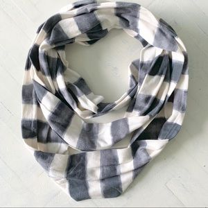 Loft Gray and White Striped Cotton Infinity Scarf
